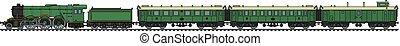 The vintage passenger steam train