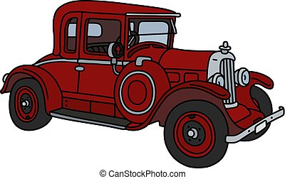 The vintage red car - The vector illustration of a vintage...
