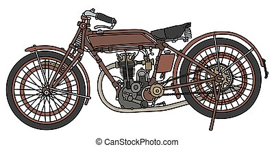 The vintage red motorcycle