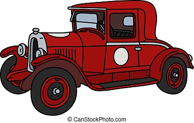 The vintage red racecar - The vector illustration of a...