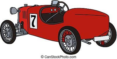 The vintage red racecar
