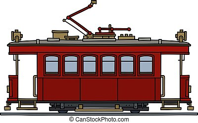 The vintage red tramway - The vectorized hand drawing of a ...