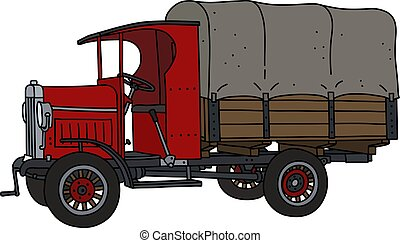 The vintage red truck
