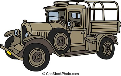 The vintage sand military truck
