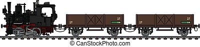 The vintage small steam freight train