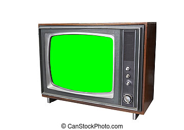 the vintage television with chroma green screen.