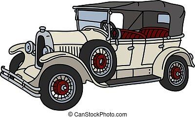 The vintage white cabriolet