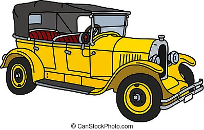 The vintage yellow cabriolet