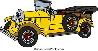 The vintage yellow convertible