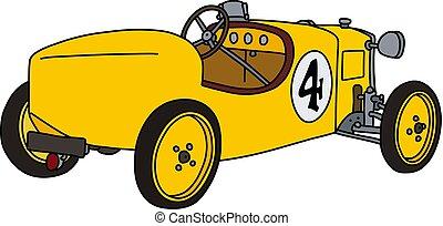 The vintage yellow racecar
