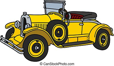 The vintage yellow roadster