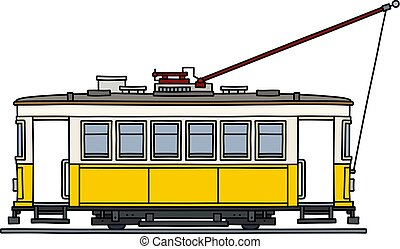 The vintage yellow tramway - The vectorized hand drawing of ...