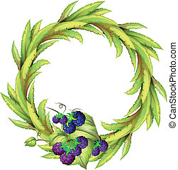 The violet berries at the bottom of a leafy round border - ...