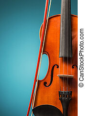 The violin front view on blue - Violin front view on blue...