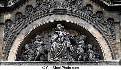 The Virgin Mary with Jesus surrounded by angels, Notre Dame des Champs in Paris, France