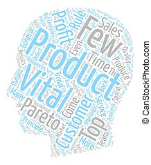 The Vital Few text background wordcloud concept
