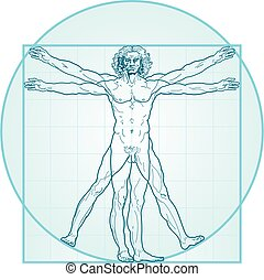 'Homo vitruviano'. So-called The Vitruvian man a.k.a. Leonardo's man. Detailed drawing on the basis of artwork by Leonardo da Vinci, executed him c. 1490 (in 1487 or 1490 or 1492) by ancient manuscript of Roman master Marcus Vitruvius Pollio.