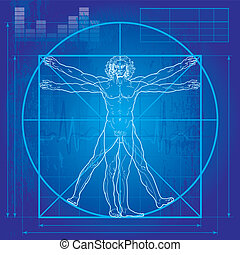 The Vitruvian man (Blueprint version) - 'Homo vitruviano'. ...