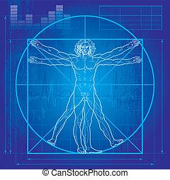 The Vitruvian man (Blueprint version) - 'Homo vitruviano'. ...