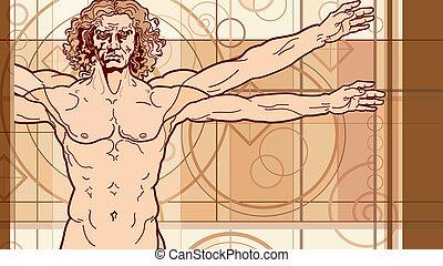 The Vitruvian man (Fragment) - 'Homo vitruviano' fragment....