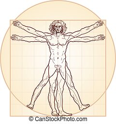 'Homo vitruviano' so-called The Vitruvian man a.k.a. Leonardo's man. Detailed drawing on the basis of artwork by Leonardo da Vinci, executed him c. 1490 (in 1487 or 1490 or 1492) by ancient manuscript of Roman master Marcus Vitruvius Pollio.