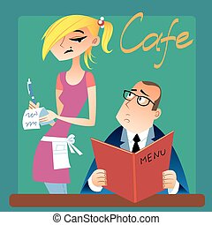 waitress takes an order from a customer in the cafe
