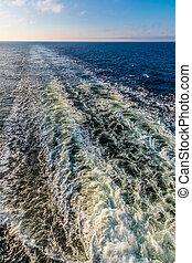 The wake behind a cruise ship
