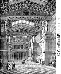 The Walhalla, Inside view, vintage engraving. - The...