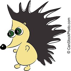 The walking green eyed hedgehog vector or color illustration