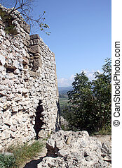 The wall of the ancient fortress