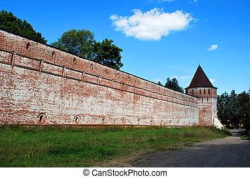 The wall of the Borisoglebsky monastery in Rostov the Great, Yaroslavl Oblast, Russia