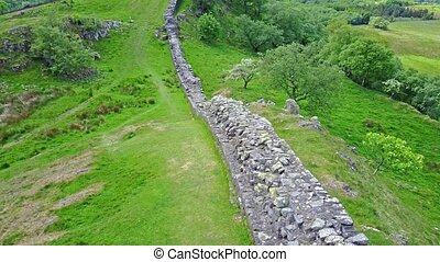 The Walltown Crags at World heritage site Hadrian's Wall in...