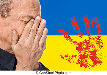 The war in Ukraine. Elderly man covered his face against of ...