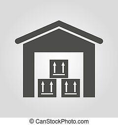 The warehouse icon. Storehouse and logistic symbol. Flat...