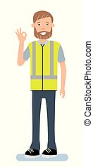 The warehouse Manager is showing a gesture Okay, ok. Illustration on a white background. Cartoon character person. Vector flat-style illustration