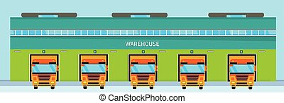 The warehouse with truck in flat style