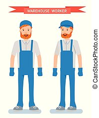 The warehouse worker. Cartoon character person. Set of various poses and emotions.