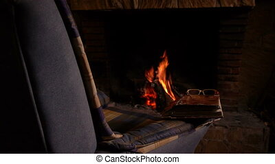 the warmth of the fireplace
