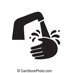 The wash hands silhouette icon is black on a white isolated background. Vector image