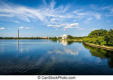 The Washington Monument, Thomas Jefferson Memorial and Tidal Basin, in Washington, DC.
