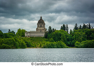 The Washington State Capitol and Capitol Lake, in Olympia,...