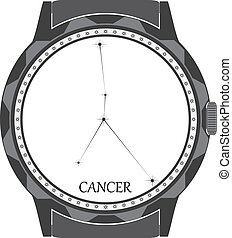 The watch dial with the zodiac sign Cancer. Vector