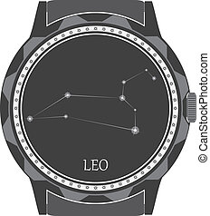 The watch dial with the zodiac sign Leo. Vector