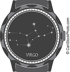 The watch dial with the zodiac sign Virgo. Vector