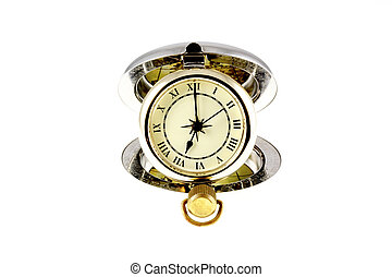 The watch says 7 o'clock - Pocket watch on isolated on a...