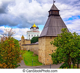 The Watch Tower and Trinity Church in Pskov Kremlin, Russia