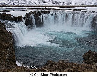 The water basin of the Godafoss Waterfall in Iceland