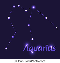 The Water-Bearer aquarius sing. Star constellation element. Age of aquarius constellation zodiac symbol on dark blue background.