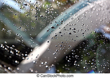 Water Drops on front of Car windshield.