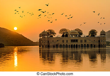The Water Palace at sunrise Rajasthan Jaipur, India